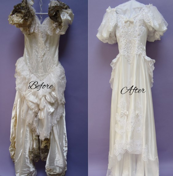 Crabbe Before After Wedding Gown Restoration