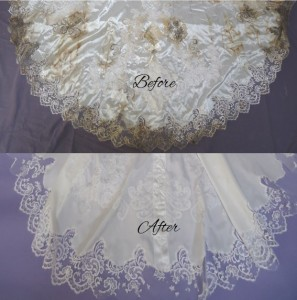 Crabbe Train Before & After wedding gown restoration