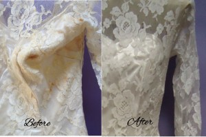 Bodice Before and After wedding gown restoration