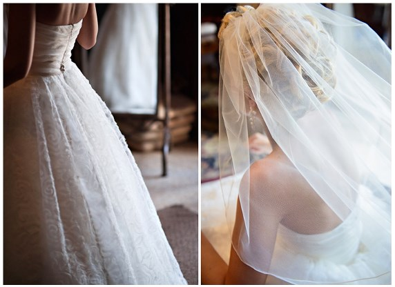 See the texture in Katie's beautiful wedding gown
