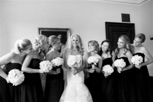 Bride and bridesmaids for wedding dress story