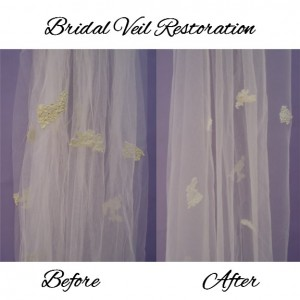 Vintage wedding gown included veil restoration