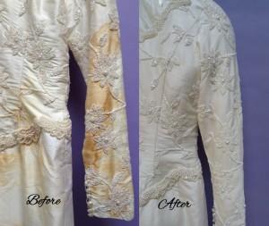 Silk Shantung wedding dress restored SleevesBeforeAfter