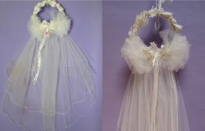 Wedding gown restoration Silk Shantung Veil Before AfterSq2-