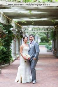 Samantha in designer wedding dress with groom again
