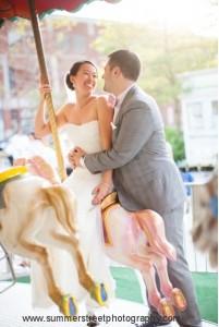 Samantha in designer wedding dress and groom